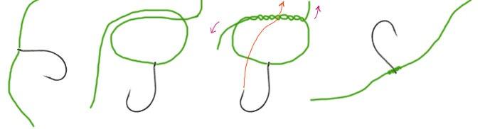 Узел для привязывания дроп-шот крючка