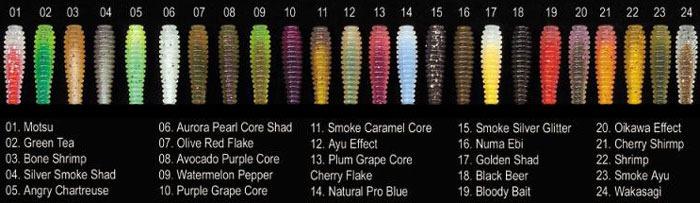 Цветовая палитра силикона от Megabass