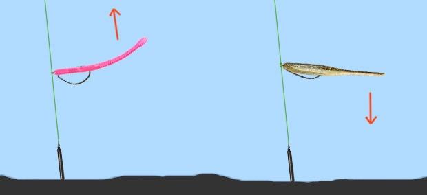 Дроп-шот с плавающими и тонущими силиконовыми приманками