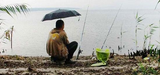 На рыбалке под дождем